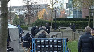 Lance Reddick filming scenes for final season of Fringe.mp4-00035